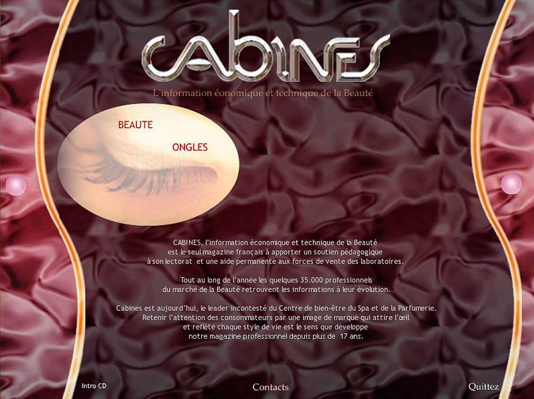 Capture écran du CD-Rom multimédia CABINES créée par Franck Cord'Homme en 2005