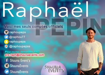 bannière web de Raphael PEPIN People SHAUNA EVENTS créé par Franck Cord'homme - été 2016 - Visible sur webtuto.fr